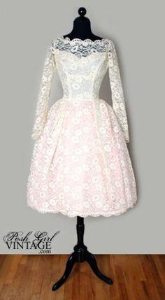 1960s Tea Length Creamy Ivory Lace Wedding Bridal Dress
