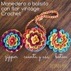 Mini Mini tutorial del miércoles: monedero o bolso con flor vintage (o blooming flower) tejido a ! Les dejamos 3 ideas de cómo cerrar el monedero o bolso. Pueden ver el video aquí: goo.gl/rbnU8u