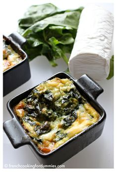 Parmesan, goat cheese and spinach flans recipe
