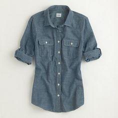 Factory two-pocket chambray shirt/