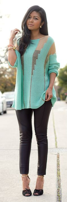 Mint + Gold Sweater.