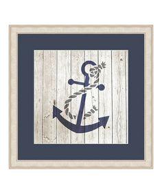 Look at this #zulilyfind! Anchor on Planks Framed Print #zulilyfinds