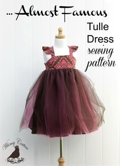 Almost Famous Tulle Dress PDF Sewing Pattern nb-12 girls