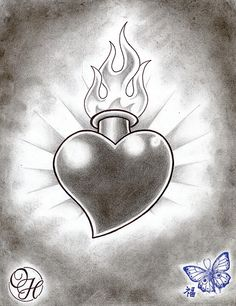 Flaming Heart Tattoo Designs