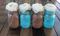 Mason Jars, Decorative Mason Jars, Wedding Centerpieces, Teacher appreciation Gift, Coffee Table Home Decor, Turquoise and Brown Vases via Etsy