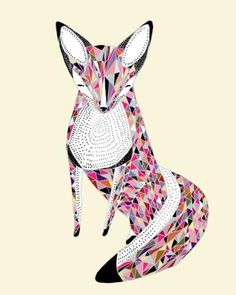 A geometrically styled fox - pretty in pinks! Love this foxy gal!  #fox #illustration #art #print #foxes #kids #wall