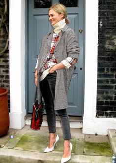 cold weather chic - bet I could pick up a big oversized coat and sweater like this at the thrift store and pair with my Michael Kors skinnies and some heels to get this look!
