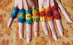Set Of 7 Rainbow Crochet Mandala Bridesmaid Rings With Gold Holographic Sequin by babukatorium, via Flickr