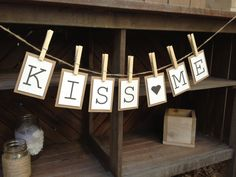 Kiss Me Bunting Banner Garland / Sign for St. Patrick's Day Decoration.  www.etsy.com/shop/LaceTwineAndBurlap
