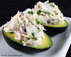cilantro and lime crab salad in avocado halves.