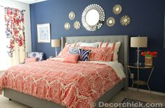 Master Bedroom.  Navy and Coral Bedroom.