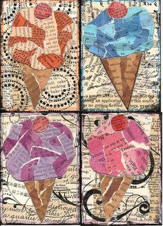 ice cream art texture art projects, trading cards, ice cream art projects, ice cream projects, altered art, art projects texture, paper ice cream, ice cream school ideas, ice cream cones