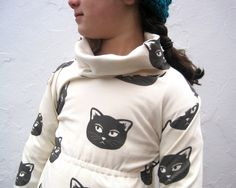 Organic Girls Cat Dress - Cowl Neck Dress in Black and White Mischevious Kitty (12 months 2T 3T 4T 5T 6T). $78,00, via Etsy.