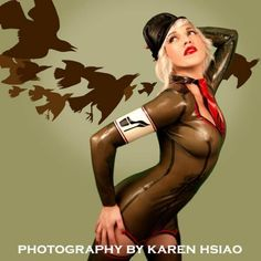 Military garter latex dress with tie and by VenusPrototypeLatex, $300.00
