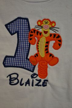Custom Made to order Personalized Winnie the Pooh Birthday Number with Tigger Shirt available in sizes 6 month to Adult XL. $21.00, via Etsy.