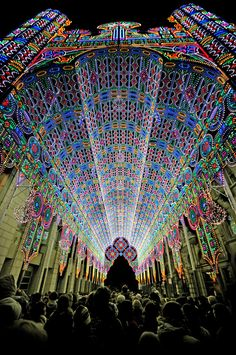 The Luminarie De Cagna is an imposing cathedral-like structure that was recently on display at the 2012 Light Festival in Ghent, Belgium. The festival was host to almost 30 exhibitions including plenty of 3D projection mapping, fields of luminous flowers, and a glowing phone booth aquarium, however with 55,000 LEDs and towering 28 meters high the Luminarie De Cagna seems to have stolen the show. ( via stijn coppens, sacha vanhecke, sector271)