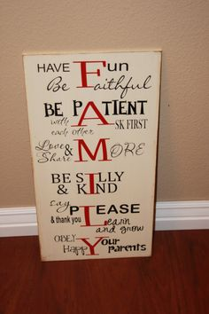 Family Rules and House Motto Board - Home Decor wood sign with vinyl lettering