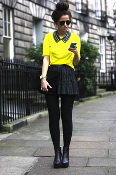 Add black opaque tights and booties to your favorite neon summer pieces for a stylish back to school look!