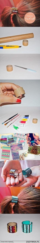 craft, diy hair, hair clips, diy tutorial, paper towel rolls, hair cuff, band cover, hair ties, hair accessories
