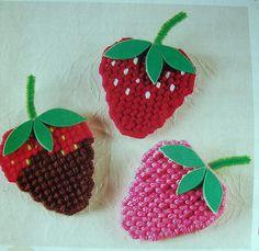 Plastic Canvas: Three Strawberries