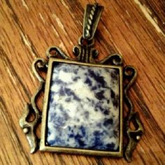 Rectangular Picture Frame Bronze Pendant set with Sodalite $23.50