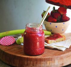 Champagne Strawberry Rhubarb Jam by @Carrie
