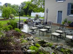 Stone and Brick Patio, Repair, LED Lighting, Water Feature and Landscaping in Brighton, NY by Acorn Certified Aquascape Contractor of Rochester 585-442-6373. To learn more about this project, please click here: https://www.facebook.com/notes/acorn-landscaping-landscape-designlightingbackyard-water-gardens/stone-and-brick-patio-repair-led-lighting-water-feature-and-landscaping-in-brigh/326928104010985?__req=5
