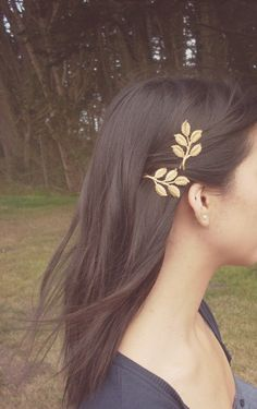 Fall Comes Softly II - Gold Leaf Branch Bobby Pins - Leaves - Boho Rustic Adorable Elegant Romantic Whimsical Dreamy - Woodland Collection. $38.00, via Etsy.