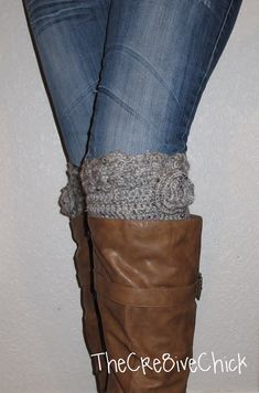 Crochet Boot cuff PATTERN - Must-have! Scalloped edge Design with crocheted flower - INSTANT download! Pdf - Great DIY gift!