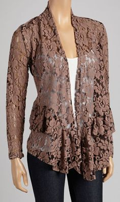 Stretchy Brown Lace Cardigan