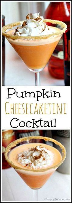 "Pumpkin Cheesecaketini Cocktail Recipe - easy homemade drink inspired by pumpkin cheesecake! <a href=""http://SnappyGourmet.com"" rel=""nofollow"" target=""_blank"">SnappyGourmet.com</a>"