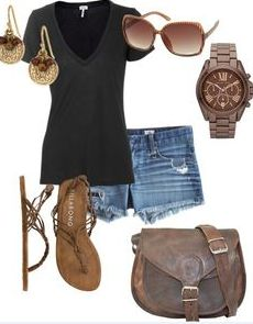 jean shorts, woman fashion, summer fashions, accessori, casual summer outfits