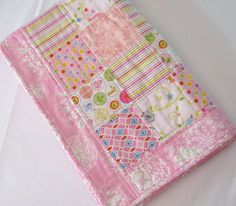 Baby Quilt Baby Girl Quilt in colorful pink by WarmandCozyQuilts