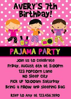 parti invit, pajama party, birthday parties, pajama parti, sleepov parti, party invitations, parti idea, slumber parti, kid