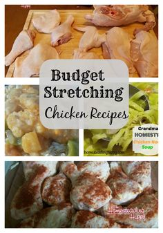 """""""I know that it's all the rage to be able to stretch one chicken into 5 meals, but I need to be realistic. My teenagers are hungry, especially after 2 1/2 hour taekwondo classes. They could easily scarf an entire chicken themselves, but at the rate of $12-$14 each from our Whole Foods Store, that doesn't fly. So, I make 2 whole chickens and stretch them into 4-5 meals, feeding 5 of us each time. Here are my budget stretching chicken recipes!"""""""