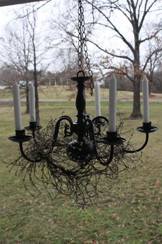 Vintage Light Fixture Hanging Candle Chandelier Black Repurposed Upcycled