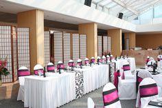 Pink & black wedding head table