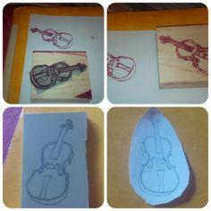 Violin carved in Undefined stamp set by Stampin' Up! by Julie Fetiveau