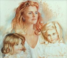 A pastel drawing of Sarah Ferguson and her two daughters, Princess Eugenie and Beatrice, was Sarah's gift to her husband, The Duke of York, to celebrate his 50th birthday in 2010.