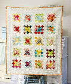 Granny square quilt block and tutorial  at blueelephantstitches.blogspot.com