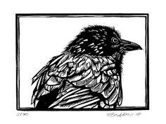 Australian crow original  linocut print by rubyvictoria