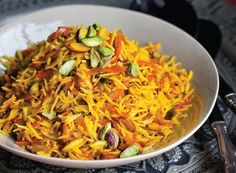 Sweet Rice with Carrots and Nuts--just use raw agave or maple syrup instead of honey :o)