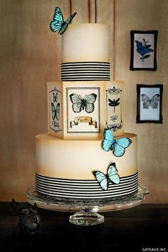 DIY vintage butterfly cake design.