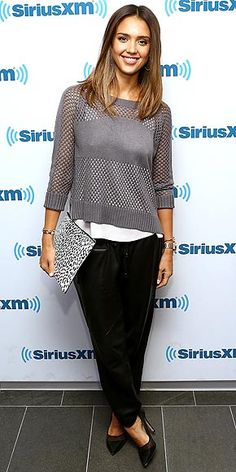 Jessica Alba keeps it casual for a SiriusXM radio appearance in N.Y.C., but gives her loose-fitting Heartloom sweater and leather pants a pop with pointy-toe heels and an envelope clutch she's been carrying throughout the week while on her Sin City: A Dame to Kill For promotional tour.