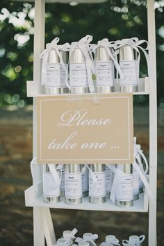 Wedding Favors | On Style Me Pretty | See the wedding here: http://www.StyleMePretty.com/2014/03/07/lakeside-wedding-at-castle-maria-loretto/ Photography: Thomas Steibl