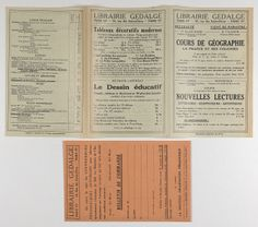 "Book mail order form from Librairie Gedalge, Paris found inside ""Cours de Géographie: La France et ses Colonies"" from the Prendergast Personal Library"