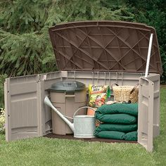Suncast Horizontal Storage Shed  This might work for the lawn mower........