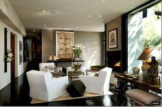 living room with 4-chair arrangement, espresso floors and trim, grass cloth walls, neutrals