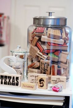 I love storing things in jars...easy artwork!  {craft room}