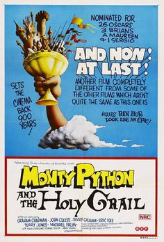 """Movie Poster for the wondrously funny Monty Python movie """"Monty Python and the Holy Grail""""...   As it notes, """"Nominated for 26 Oscars""""!"""